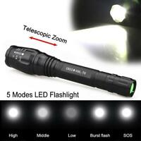 Zoomable 10000LM 5-Mode  XM-L T6 LED Flashlight 18650 Torch Lamp Light GA
