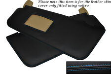 BLUE STITCH FITS BMW 5 SERIES E60 E61 2003-2011 2X SUN VISORS LEATHER COVERS