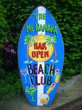 PERSONAIZED TROPICAL BOOGIE SURF BOARD DECORATIVE ART TIKI HUT POOL PLAQUE SIGN