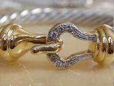 $1950 DAVID YURMAN 18K GOLD, SS DIAMOND BUCKLE BRACELET
