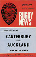 Canterbury v Auckland 28 Aug 1971 Ranfurly Shield, NZ Rugby Programme