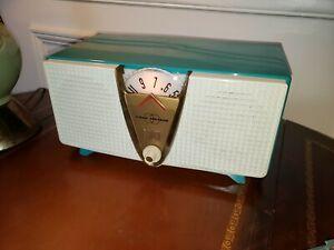 "PHILCO AM Tube Radio ""Twin Speaker"" Model F817 AQUA and WHITE!"