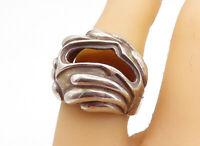 925 Sterling Silver - Vintage Modernist Dome Design Cocktail Ring Sz 7 - RG5237