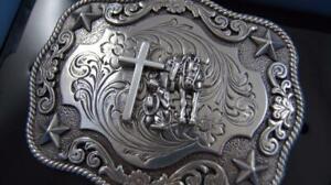 New Nocona Western Belt Buckle Cowboy Man at Cross Praying Silver Tone 3798659