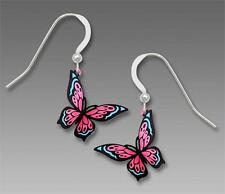 Sienna Sky Earrings 925 Sterling Silver Hook Pink and Blue Fantasy Butterfly