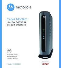MOTOROLA ULTRA FAST DOCSIS 3.1 CABLE MODEM MODEL MB8600 PLUS 32X8 DOCSIS 3.0 NEW