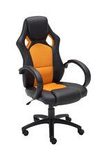 CLP Chaise de Bureau en Similicuir - Noir/Orange (4251152626884
