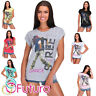 Womens Street Dance Print T-Shirt Short Sleeve Summer Casual Top Size 8-14 FB280
