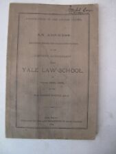 1884 Yale Law School Signed Judge Joseph Cox New Haven Judge Judicial Hoadly
