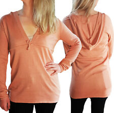 SALE AT £6 UK Sizes 16-22 Ladies Apricot Cotton Long Sleeve V Neck Jumper Hoody