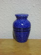 Blue Flecked w/3-Ring Band Solid Brass Keepsake Token Mini Urn w/Velvet Bag