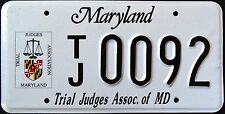 """MARYLAND """" TRIAL JUDGE """" VERY RARE """" MD Specialty License Plate"""
