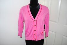 JUICY COUTURE Pink Plumeria Cardigan Sweater Light Weight NWT $98 XL X-large