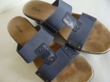 """CLARKS BLUE LEATHER SANDALS 2½"""" HEEL ELASTIC BAND 88463 Woman's 11 M VGC"""