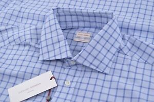 NWT Luciano Barbera Size XL Long Sleeve Dress Shirt Brand New Blue Made In Italy
