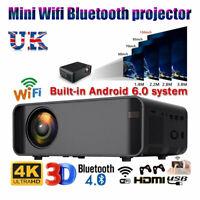 WiFi 4K 3D HD 1080P LED Projector Mini Home Cinema Bluetooth AV/VGA/HDMI Audio