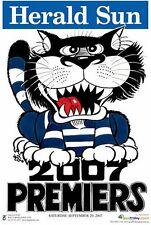 "AFL GEELONG CATS HERALD SUN WEG 2007 PREMIERS POSTER ""LICENSED"" BRAND NEW"