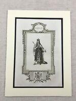 1791 Stampa King James II Di Inghilterra Ritratto Originale Antico Incisione