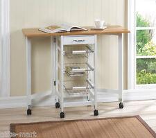 drop leaf BAMBOO wood craft sewing drawer table kitchen drawer island cart wheel