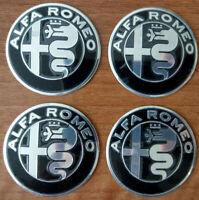 SET of 4pcs Alfa Romeo BLACK&SILVER GIULIA emblems 50mm-147,156 - for hub caps