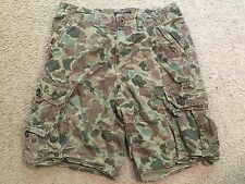 AMERICAN EAGLE OUTFITTERS Distressed Green Camo Classic Casual Cargo Shorts 28