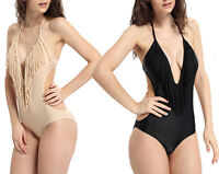 Women Tassel Fringe Push-up Halter Top Bikini Swimsuit V Neck Swimwear Beachwear