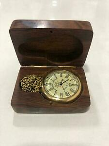 Nautical brass clock compass pocket watch with brass chain & wooden box