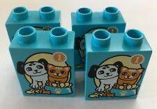 *NEW* 4 Pieces Lego DUPLO MEDIUM AZURE Brick 1x2x2 DOG CAT FOOD BOWL #1 Pattern