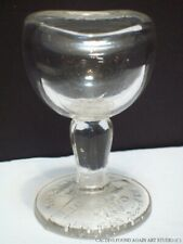 John Bull Eye Wash Cup Clear Glass Patent Aug 14 1917 Pedestal Eyewash Rinse Vtg