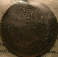 1859 CANADA LARGE CENT PENNY COIN 1 CENT PENNY - ICCS EF-40 Wide 9/8