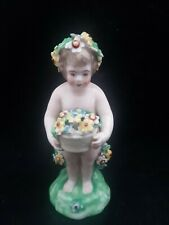 Rare Antique Derby Figure Of A Putto Holding A Basket Of Flowers 1765c