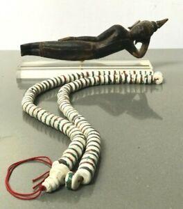 ANTIQUE VINTAGE NEPAL TIBET WHITE CONCH SHELL MALA PRAYER BEADS. BUDDHIST. LARGE
