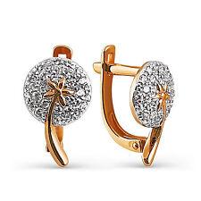 585 Russian Gold Hoop Huggie 14K Rose gold Earrings Gift Boxed