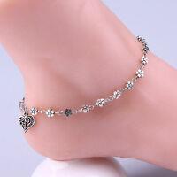 Women Silver Bead Chain Anklet Girls Bracelet Barefoot Sandal Beach Foot  xxll