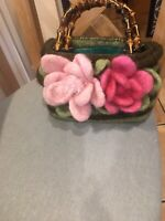Hand Made Felt Hand Bag Green Stripe With 2 Big Pink Flowers Bamboo Style Handel