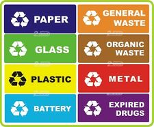 8 RECYCLE SELF ADHESIVE STICKERS FOR SELECTIVE WASTE COLLECTION,GARBAGE,RUBBISH