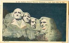 1948 Linen - Mt. Rushmore National Memorial, Illuminated at Night, Black Hills