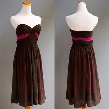 5ab15e0e7efb ABS Allen Schwartz Chocolate Chiffon Fuchsia Satin Origami Twist Bodice  Dress 4