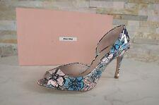 MIU MIU PRADA Gr 36,5 Open-Toes Peep-Toes Pumps Schuhe Lack Blumen neu UVP 475 €