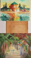 XXe Lot 2 Aquarelle Rosette CHICOTOT Paysage Jardin Maroc Marrakech Orientalisme
