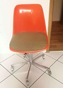 Drehstuhl Bürostuhl Helmut Starke EUROPA Panton Ära 70er Jahre orange Plastik