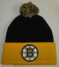 Boston Bruins Beanie ~KNIT CAP  ~HAT ~CLASSIC NHL PATCH/LOGO ~BLACK & GOLD  ~NEW
