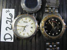 - 2pc Vintage SEIKO KINETIC 5M22-7B60 & 5M43-0A50 w Band Gents Parts Watch AsIs