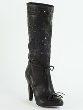 New  Red Valentino  Black Perforated leather  Boots Size 38 US 8