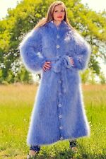Blue hand knitted long sweater coat hoody fuzzy mohair cardigan SUPERTANYA SALE
