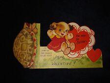 Vtg Children's Boys Girls Kids Animal FLOCKED Cute Bear Dog Valentine Day Card