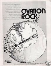 1974 Vintage PRINT Ad Ovation Solid Body Electric Guitar Rock cartoon art