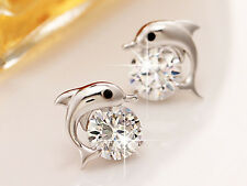 YJ015 Dolphin Earring Women Girl 925 Sterling Silver Plated Fashion Jewelry Gift