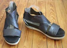 Eileen Fisher 10 Pewter Gray Leather Cross Strap Platform Sandals Zip heel