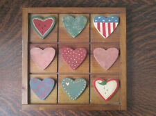 Rustic Country Decor Wood Wall Hanging Handcrafted Vintage Dated 1989 - 9 Hearts